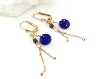 September Birthstone, Sapphire Earrings gold, Dainty Gold Earrings,  Dainty Drop Earrings, Multi-gemstones, Multi Gemstone Earrings