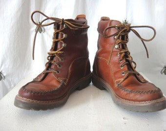 Vintage Women's Leather Bass Trail Boots, Brown Leather, Hiking Boots, Size 7