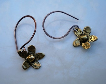 Pure Bronze Flower Earrings with Handmade and Oxidized Pure Bronze Earwires