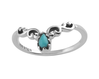 Swirling Crown Turquoise Stackable Sterling Silver Ring,Witch,Boho,Gift,Goth,Grunge