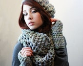 SET The Favorite Cowl Hood scarf Fingerless Glove Wool Kat slouch Hat ombre sage blue