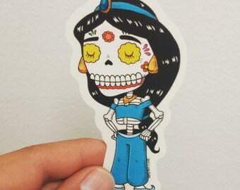 Princess Jasmine Calavera Clear Die-cut Vinyl Sticker Day of the Dead