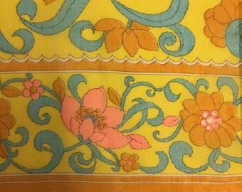 Border Print Cotton Lawn Vintage 1970s Yellow Orange Blue  - 2 7/8 Yards - Fabric Yardage / Vintage Yardage / Cotton Fabric / 1970s Fabric