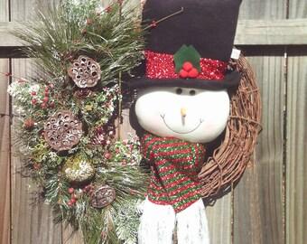 Christmas Wreath / Snowman Wreath / Winter Wreath /  Front Door Wreath