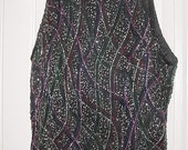 Vintage Laurence Kazar Black Silk Multi Color Beads Sleeveless Tank, SZ S