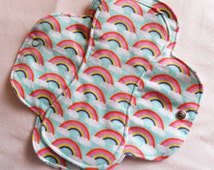 Menstrual Flannel Maxi Pads - 9.5 inch Reusable Eco Friendly Cotton Mama Cloths - Aqua Light Blue with Rainbows and Clouds