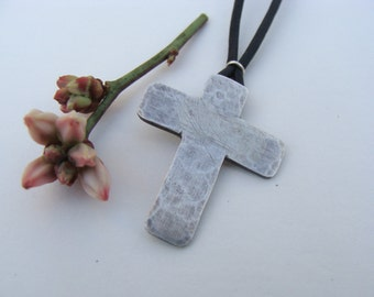 Sterling Hand Forged Cross on Leather Artisan Choker Necklace