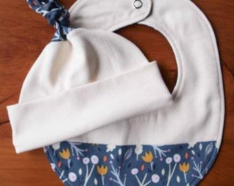 Organic Baby Sale; Blue Baby Hat and Teething Bib Gift Set; WHIMSICAL WOOD; Handmade Navy Floral Newborn Baby Cap and Drool Bib Gift Set