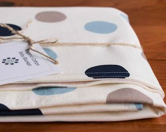 Blue Polkadot Baby Blanket Gift, Organic Baby Gear, Organic Baby Blanket POP DOT STORMY; Trendy Polka Dots Modern Baby Blanket, (Last One)
