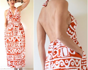 Vintage 60s 70s Orange and White Tribal Print Empire Waist Bias Cut Backless Maxi Dress (size small, medium)