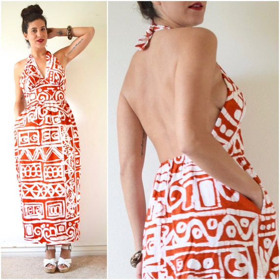 SUMMER SALE / 20% off Vintage 60s 70s Orange and White Tribal Print Empire Waist Bias Cut Backless Maxi Dress (size small, medium)
