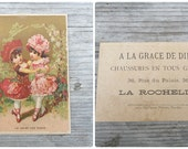 Vintage Antique 1900s  French chromolithograph  illustration advertisment trade card/ La valse des roses