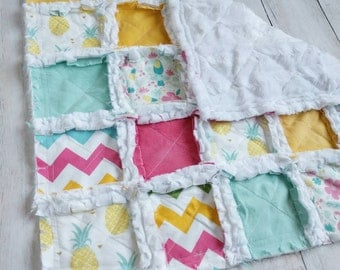 Tropical Minky Rag Quilt Lovey - Pineapple, Toucan, Pink, Yellow, Mint Green - Baby Girl Gift - Stroller Blanket - Mini Quilt -