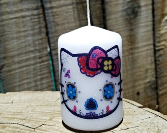 Kitty Day of the Dead Sugar Skull 2x3 Pillar Candle
