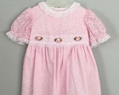 80s 90s Pink Lacy Floral Rosette Dress Size 12 months