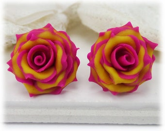 Pink Tip Yellow Rose Earrings Stud or Clip On