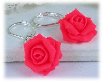 Neon Pink Rose Dangle Earrings - Neon Pink Flower Drop Earrings