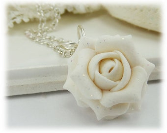 Dainty White Rose Glitter Necklace - Glitter Jewelry Collection, Glitter Flower Necklace