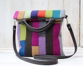Colorful Patchwork Fold Over  Bag Cross Body Bag Boiled Wool Bag with Leather Strap