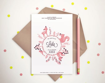 Personalised Baby Girl Announcement Card - Birth Announcement Card - Woodland card