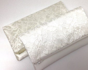 Wedding Clutch Foldover Purse, Bridal Accessory, Gift Idea - Lace on Satin