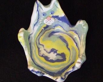 Colored Porcelain Cat Teabag Holder