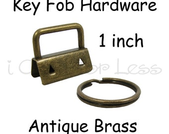 25 Key Fob Hardware with Key Rings Sets - 1 Inch (25 mm) Antique Brass - Plus Instructions - SEE COUPON