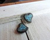 """Victorian Lace Turquoise Blue 5/8 x 1/2"""" Swirl Heart JLynnJewels Art Tile Jewelry DIY Earring pair"""