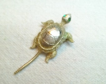 Turtle Brooch, Lil Turtle with Green rhinestone eyes and Wiggly Tail Cut, 60s