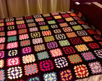 70s Happy Granny Square Bedspread Twin or Double topper, Bright COlors, Just call me Olde Fashioned