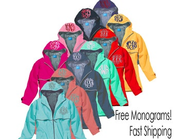 Monogrammed Rain Jacket-Price Includes 2 Monograms-Fast Shipping-Just For Me Sewing