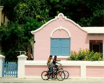 Bermuda Bungalow - Tropical Pink and Blue Island Cottage - Original Colour Film Matted Photograph by Suzanne MacCrone Rogers