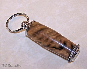 Pill Box Keychain / Key Ring in Pistachio Wood with Chrome Trim, in Attractive Gift Box