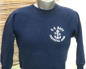 US Navy 70s Vintage Sweatshirt pullover sweatshirt Yokosuka Japan Velva Sheen tag Cotton Acrylic blend Blue vintage Sweatshirt S M