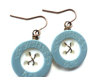 Levi Strauss & Co Light Blue and White Recycled Vintage Button Earrings