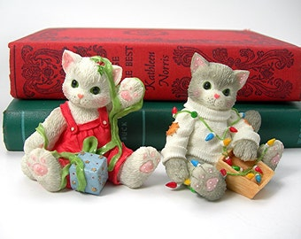 Christmas Calico Kittens Figures Figurines, Two, Vintage 1996, No Boxes, Priscilla Hillman, Enesco, Collectible Cats, Resin, Home Decor