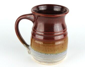Stoneware Mug - 14 oz. - Coffee Cup - Pottery Mug - Tea Cup - Brick Red /White / Handmade  Wheel Thrownpottery