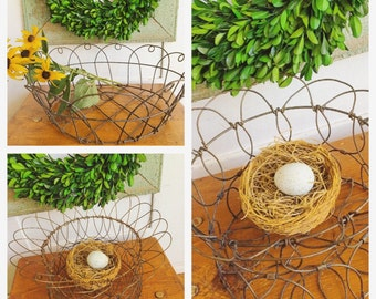 All Your Eggs in One Basket... One Antique Metal Wire Egg Basket Your Choice  Farmhouse Decor Rustic Industrial Primitive Storage