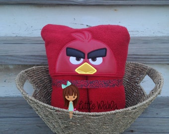 Red Angry Bird Hooded Towel Fred Bird Towel