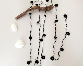 Black Necklace, Bead Lariat, Long Lariat, Bracelet