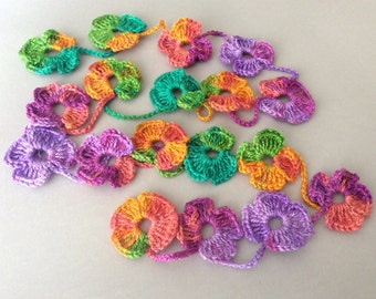 Flower Scarf, Handmade Crochet , Rainbow mix tones, Flower Lariat, Scarf, Necklace
