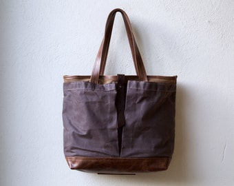 waxed canvas tote - PROPER TOTE - with leather base - large wax canvas tote - interior pockets