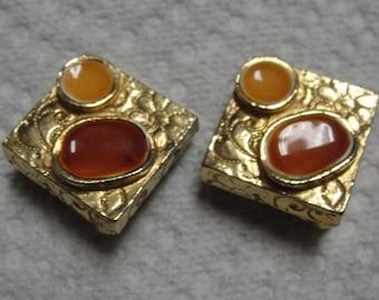 Groovy Square Gold Enamel Clip Earrings