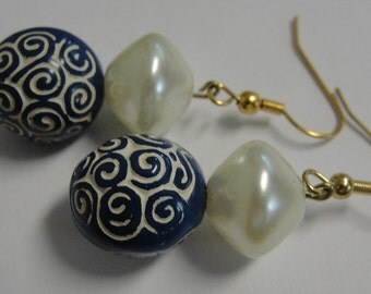 Dreamy Cream and Blue Beaded Dangle PIerced Earrings