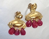 RESERVED -Gold Ear Jackets, Ruby Ear Jacket, Earring Jackets Gold, Gold Earrings, Gold Ruby Earrings, Gold plated Earrings, Genuine Ruby