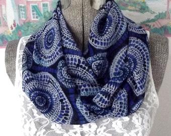 Sheer Infinity Scarf, Lightweight Fabric, Blue, Batik Print, Soft, Beautiful Drape