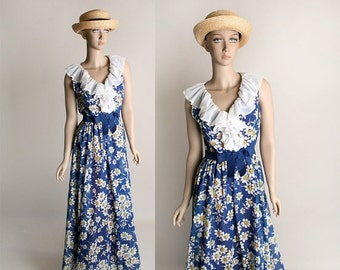 ON SALE Vintage Daisy Maxi Dress - 1970s Miss Elliette Dark Royal Blue Flower Print Flowing Gown - Small