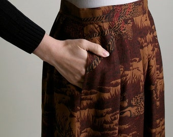 ON SALE Vintage Bird Print Skirt - Wool Silk Burnt Sienna Brown Woodland Pleat Skirt - Small