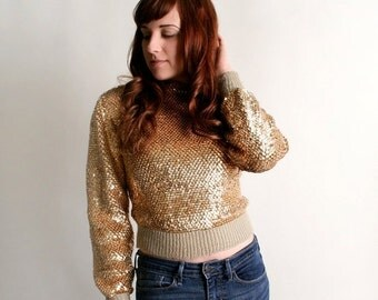 ON SALE Vintage Gold Sequin Sweater - 1980s Golden Crop Sweater Top - Small