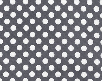 Sale Fabric, Spot on Polka Dot fabric, Quilt fabric, Cotton Fabric by the Yard, White and Gray fabric, Robert Kaufman, Choose your cut